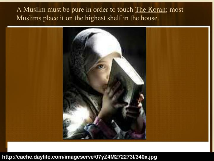 A Muslim must be pure in order to touch