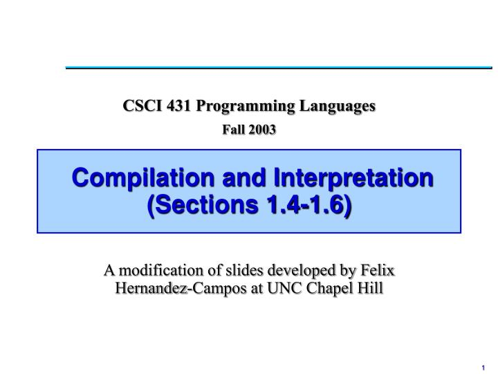 compilation and interpretation sections 1 4 1 6 n.