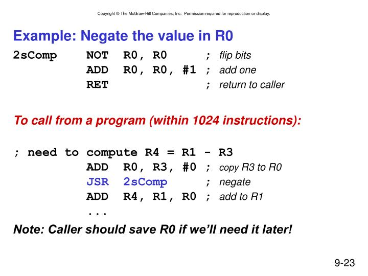 Example: Negate the value in R0