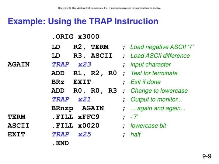 Example: Using the TRAP Instruction