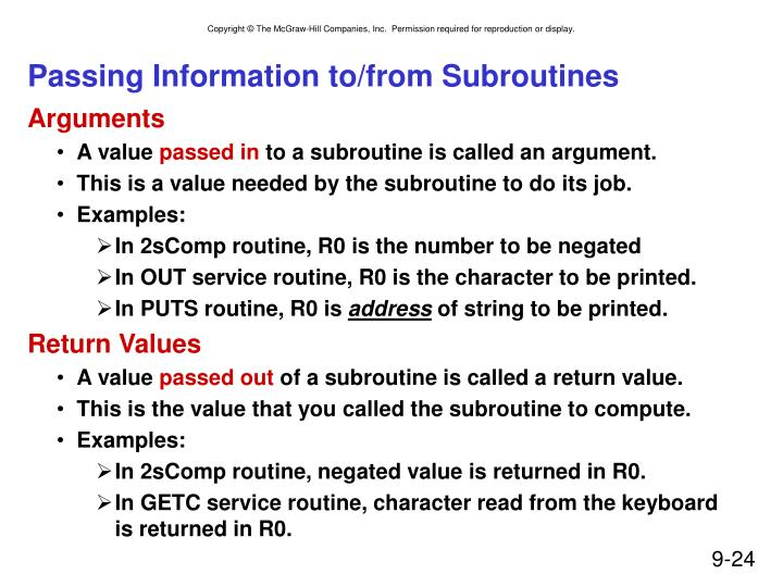 Passing Information to/from Subroutines