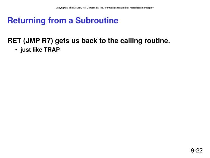 Returning from a Subroutine