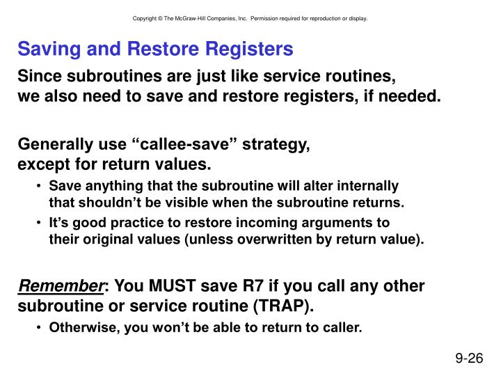 Saving and Restore Registers