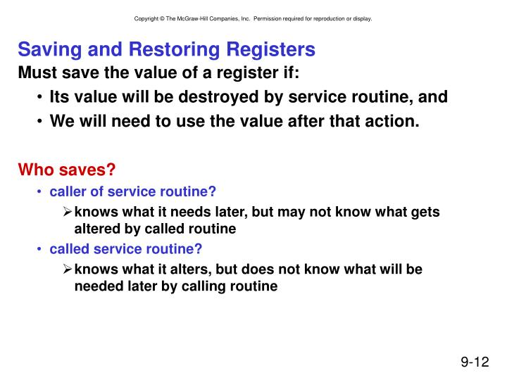 Saving and Restoring Registers