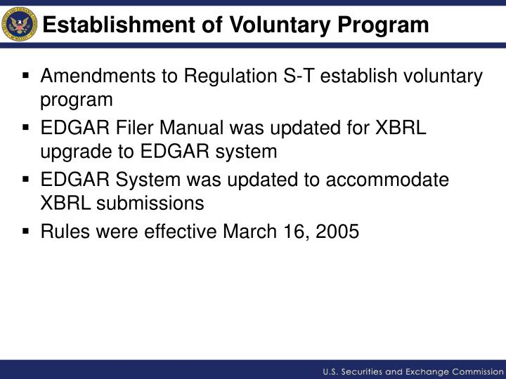 Establishment of Voluntary Program