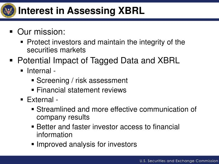 Interest in assessing xbrl