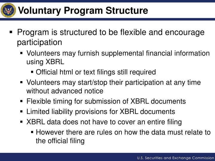 Voluntary Program Structure