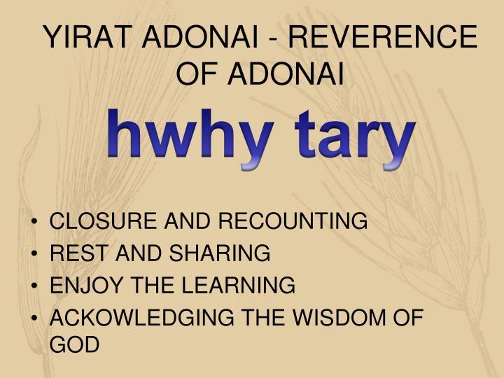 YIRAT ADONAI - REVERENCE OF ADONAI