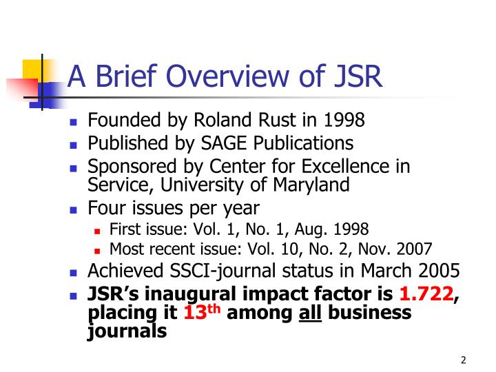 A brief overview of jsr