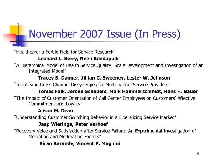 November 2007 Issue (In Press)