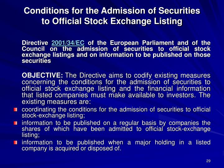 Conditions for the Admission of Securities