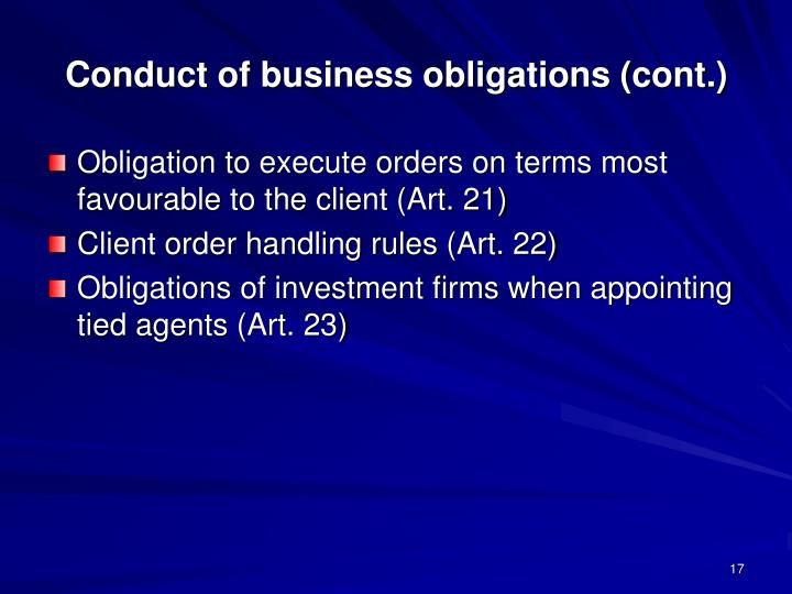 Conduct of business obligations (cont.)
