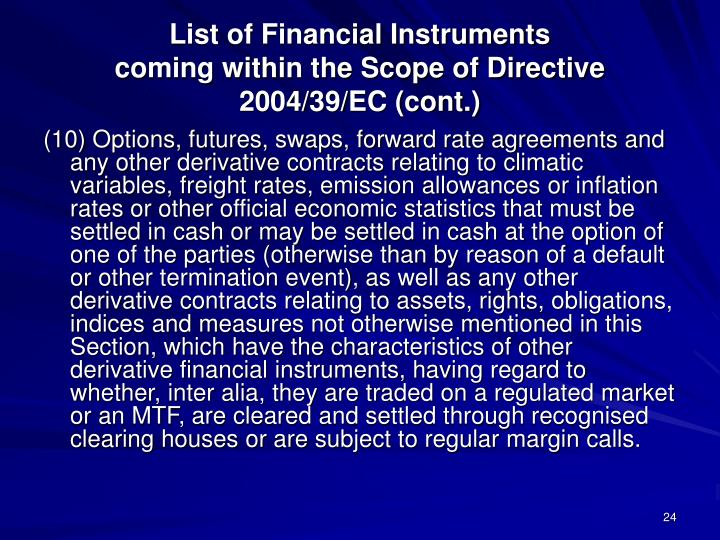 List of Financial Instruments