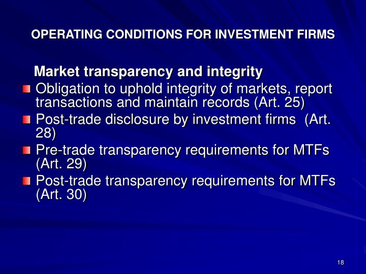 OPERATING CONDITIONS FOR INVESTMENT FIRMS