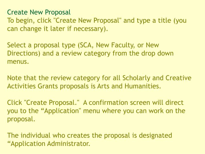 Create New Proposal