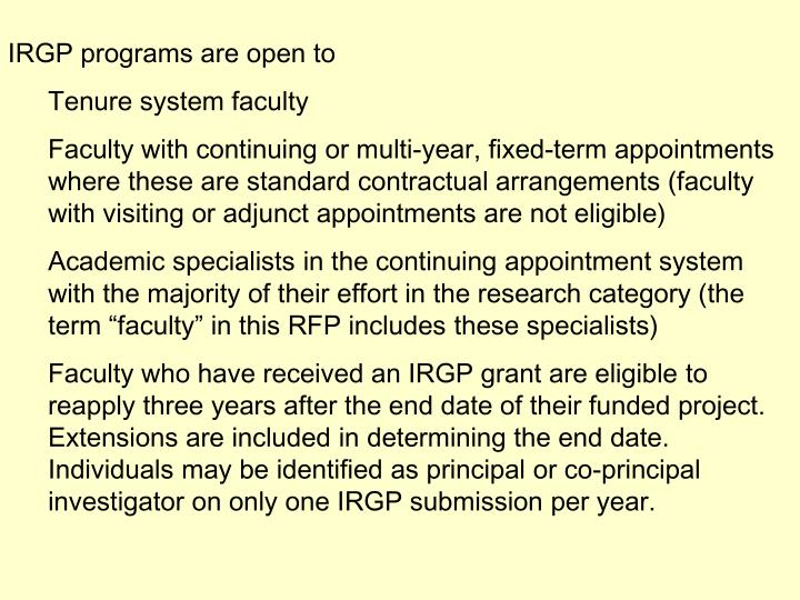 IRGP programs are open to