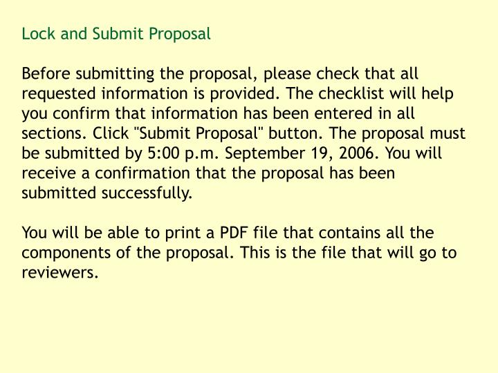 Lock and Submit Proposal