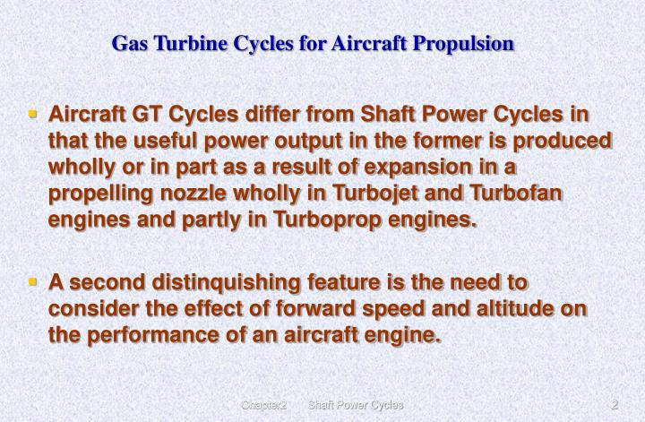 Gas turbine cycles f or aircraft propulsion