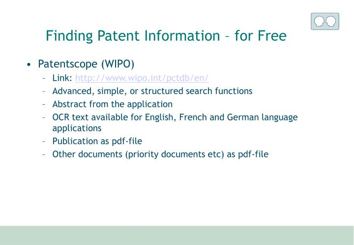 Finding Patent Information – for Free