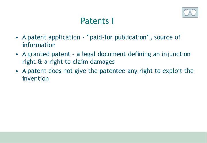 Patents I