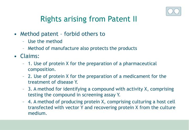 Rights arising from Patent II