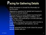 p acing for gathering details