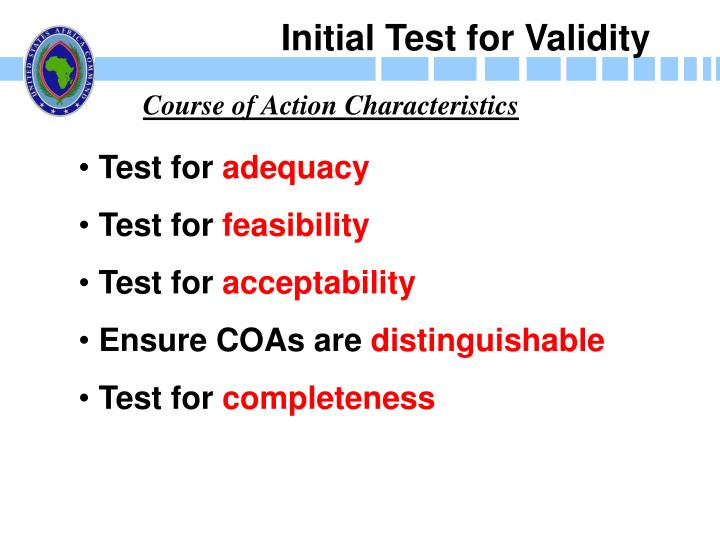 Initial Test for Validity