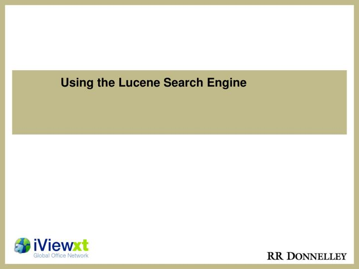 using the lucene search engine n.
