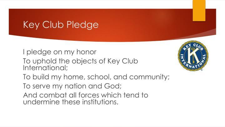 Key club pledge