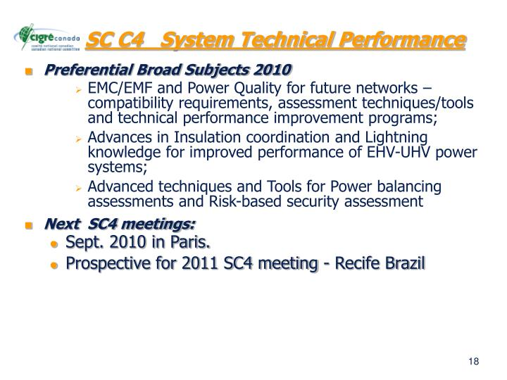 SC C4   System Technical Performance