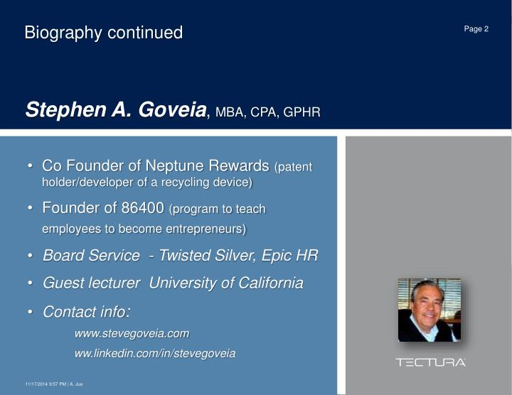 Biography continued stephen a goveia mba cpa gphr