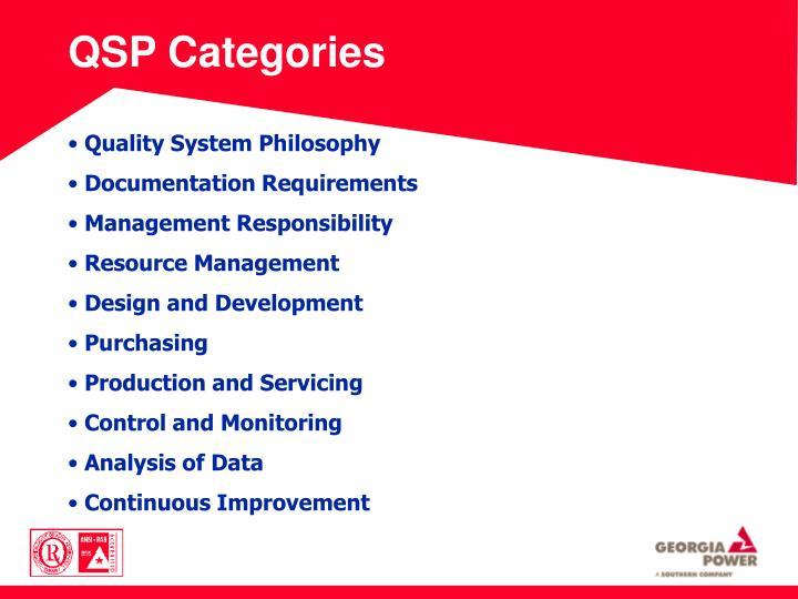 QSP Categories