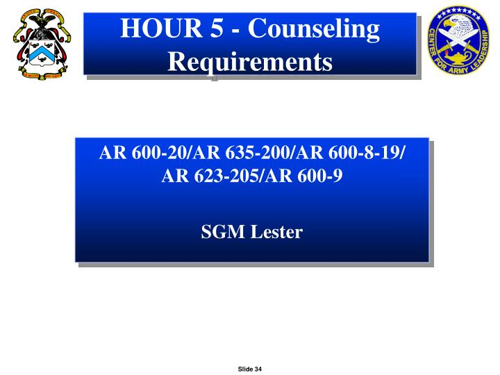 HOUR 5 - Counseling Requirements
