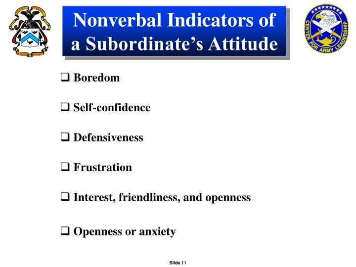 Nonverbal Indicators of a Subordinate's Attitude