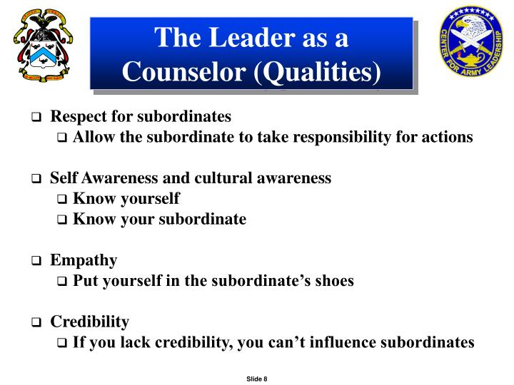 The Leader as a Counselor (Qualities)
