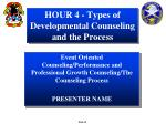 hour 4 types of developmental counseling and the process