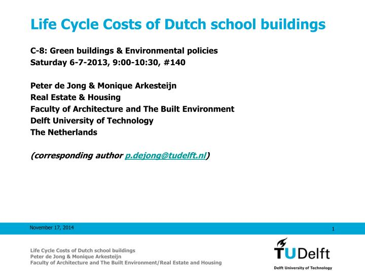 life cycle costs of dutch school buildings