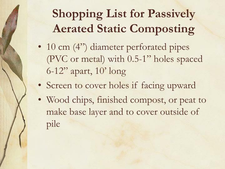 Shopping List for Passively Aerated Static Composting