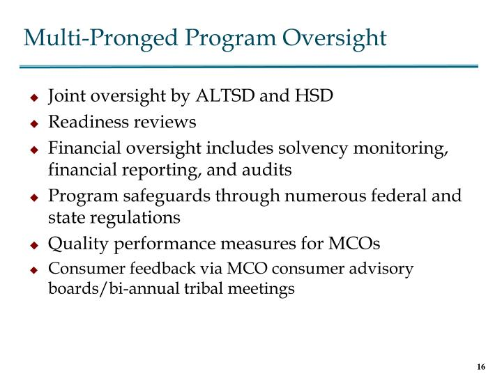Multi-Pronged Program Oversight