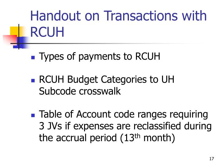 Handout on Transactions with RCUH