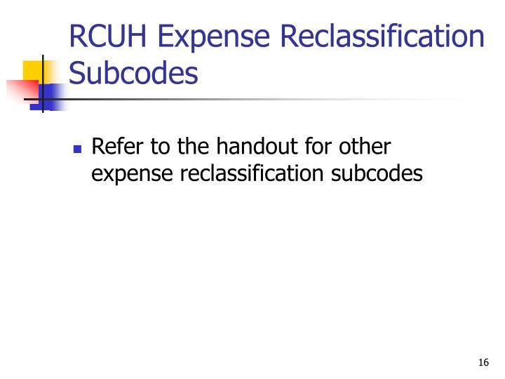 RCUH Expense Reclassification Subcodes
