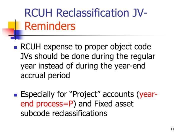 RCUH Reclassification JV-