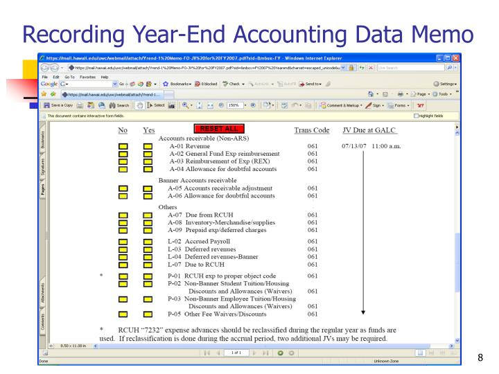 Recording Year-End Accounting Data Memo