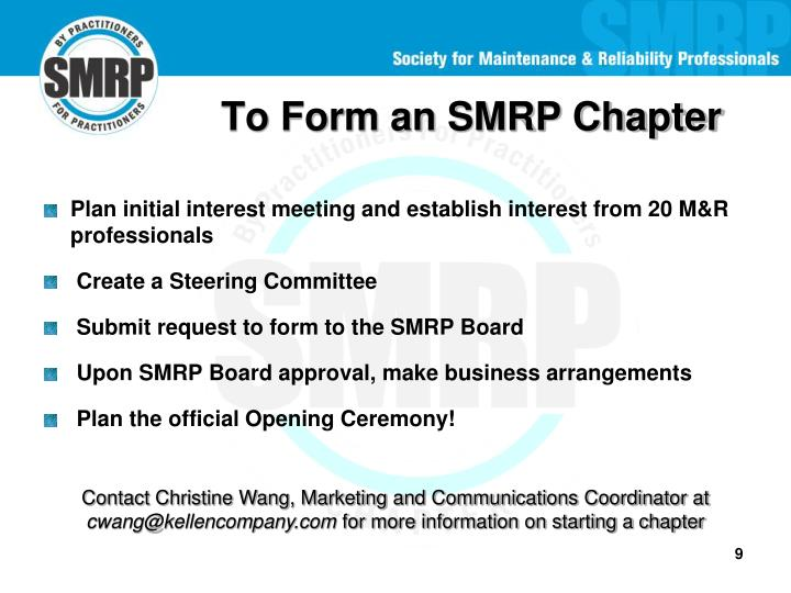 To Form an SMRP Chapter