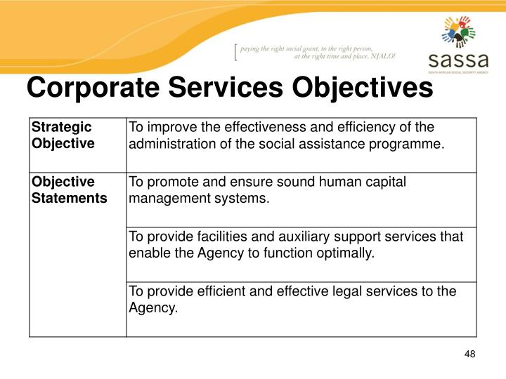 Corporate Services Objectives