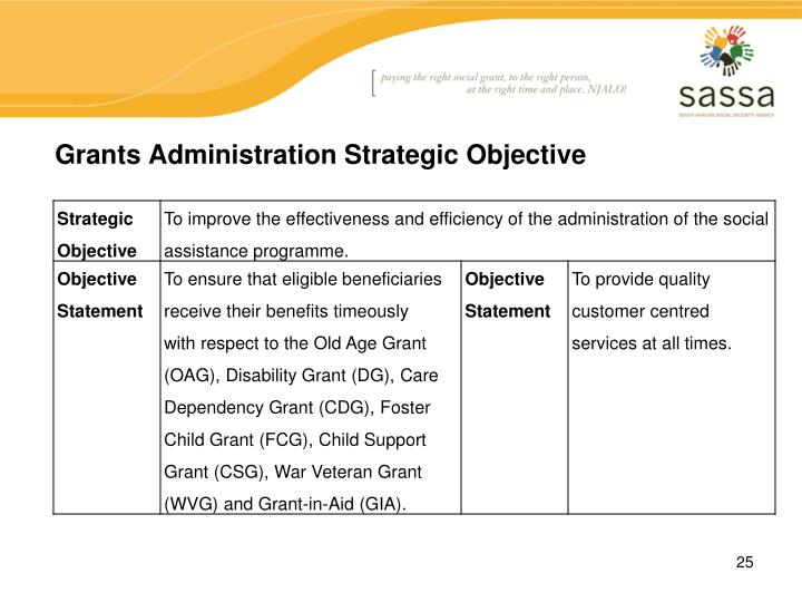 Grants Administration Strategic Objective