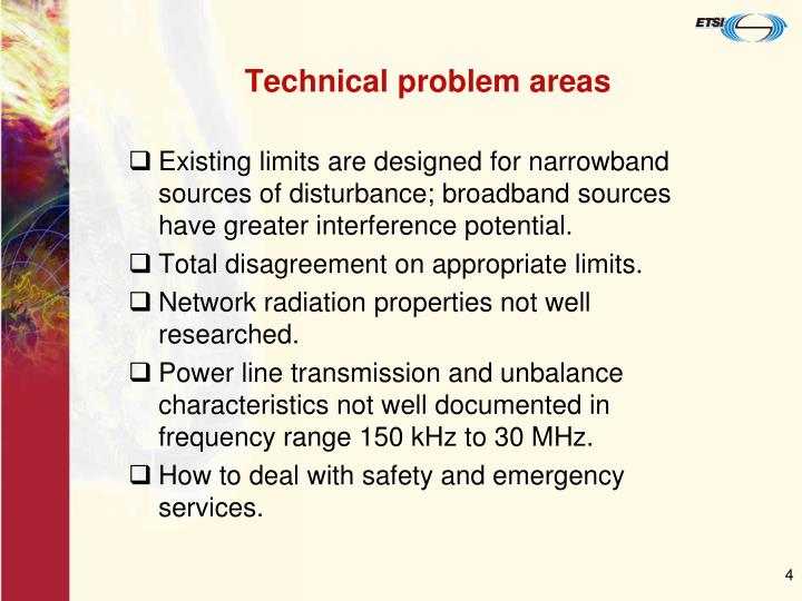 Technical problem areas