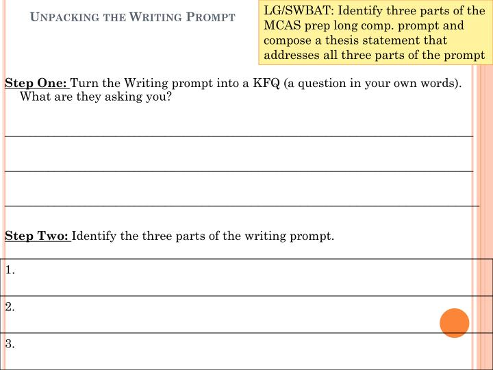 Unpacking the writing prompt
