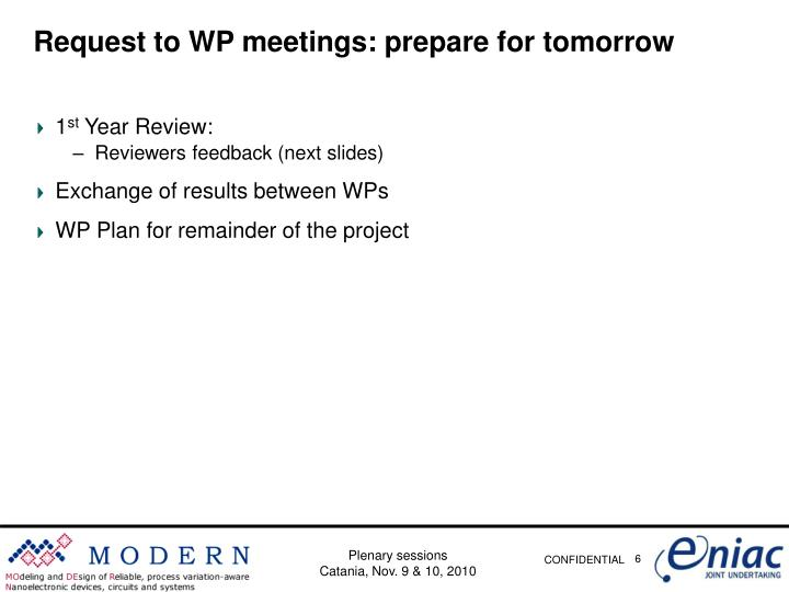 Request to WP meetings: prepare for tomorrow