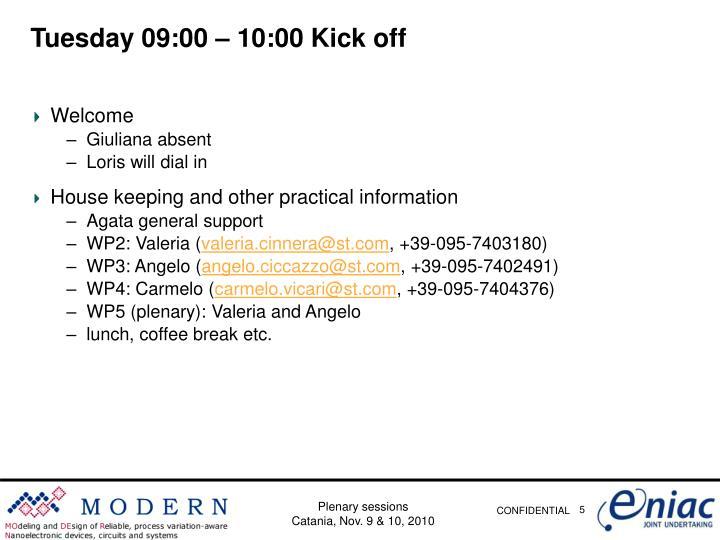 Tuesday 09:00 – 10:00 Kick off